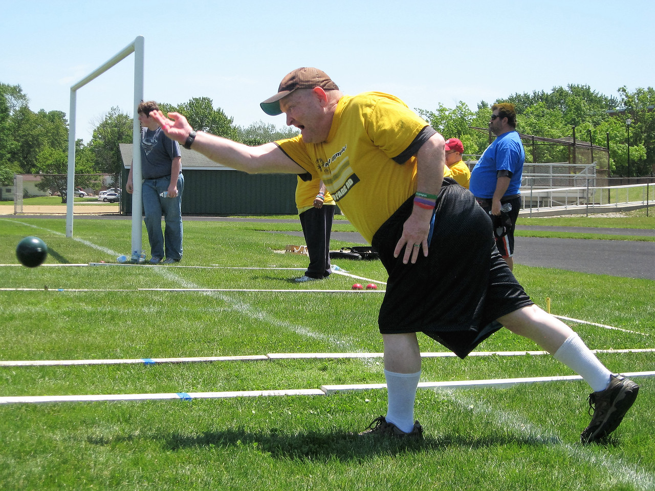 BOB SANDRICK / GAZETTE Danny Overton of Portage County competed in bocce ball Saturday during the 35th Special Olympics Medina County Invitational at Claggett Middle School.