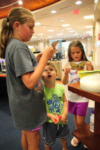 LAWRENCE PANTAGES / GAZETTE From left, Sarah Naftzger, 11, and her brother Brian, 4, and sister Anna, 7, look over prize selections they qualified for at the Medina County District Library for the system's summer reading game in which children spend 20 to 30 minutes per day with a book. The Naftzgers came to the Medina library with their mom, Erin, from Westfield Township.