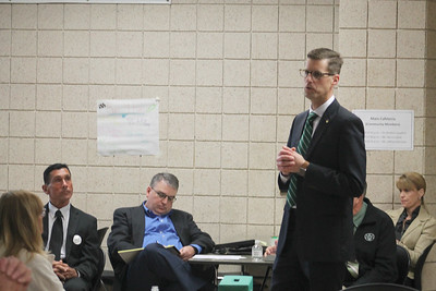 LAWRENCE PANTAGES / GAZETTE  Aaron Sable, assistant superintendent for Copley-Fairlawn City Schools in Summit County, made appearances before three different groups as part of the Medina Board of Education's interview process Wednesday night at the high school in the board's search for a superintendent to replace the retiring David Knight.