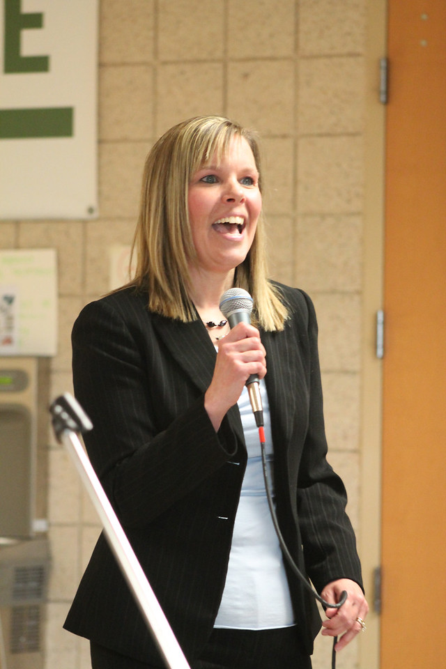 LAWRENCE PANTAGES / GAZETTE  Kristine Quallich, director of educational services for Medina City Schools, made appearances before three different groups as part of the Medina Board of Education's interview process Wednesday night at the high school in its search for a superintendent to replace the retiring David Knight.