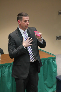 LAWRENCE PANTAGES / GAZETTE  Jeff Harrison, principal of Medina High School, made appearances before three different groups as part of the Medina Board of Education's interview process Wednesday night at the high school in its search for a superintendent to replace the retiring David Knight.