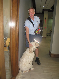 MARINA MALENIC / THE GAZETTE Labradoodle Wally greets Greg McClure on his Medina Square route at Dorman Legacy Advisors. While animals can be a hazard on some routes, McClure's 13 years on the Medina Square route have brought him into contact with only friendly canines.