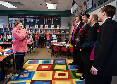 Brook Hill School second grade teacher Nelda Jones is surprised by a Singing Valentine from the East Texas Men in Harmony JQ Quartet at the school in Bullard on Friday, Feb. 14, 2020. The East Men in Harmony is an all-male chorus and a chapter of the international Barbershop Harmony Society. Each Singing Valentine comes with a love song, a long-stemmed rose and a personalized card, and the Singing Valentines are the biggest fundraiser for the chorus each year to purchase new music and offset travel expenses.