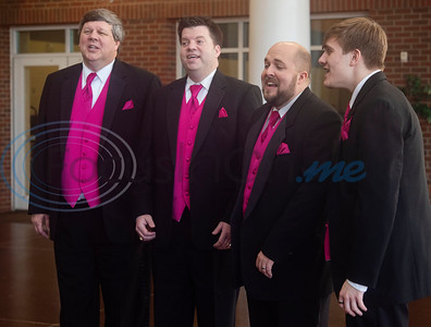 The East Texas Men in Harmony JQ Quartet perform a Singing Valentine in the hallway of The Brook Hill School in Bullard on Friday, Feb. 14, 2020. The East Men in Harmony is an all-male chorus and a chapter of the international Barbershop Harmony Society. Each Singing Valentine comes with a love song, a long-stemmed rose and a personalized card, and the Singing Valentines are the biggest fundraiser for the chorus each year to purchase new music and offset travel expenses. Pictured are singers John Cavanaugh, John Berry, Johnny Martin and Jared Richmond.