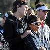 "Scott Jurek holds a friend while listening to speakers talk about Micah True.<br /> A memorial service was held Friday for Boulder  ultrarunner, Micah True, at Chautauqua Park.<br /> For photos and a video of the service, go to  <a href=""http://www.dailycamera.com"">http://www.dailycamera.com</a>.<br /> Cliff Grassmick / April 6, 2012"