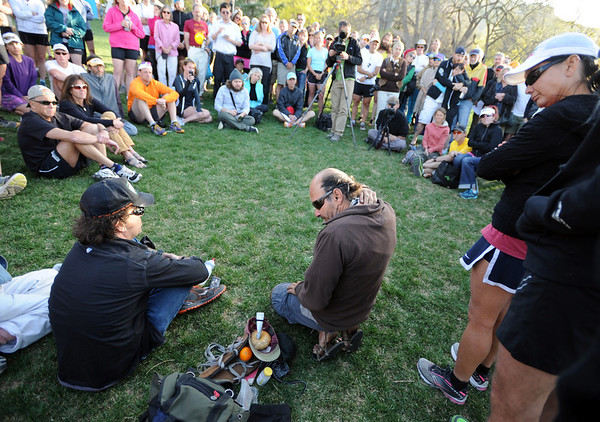 "Ray Molina, center, talks about all the stuff he use to bring when going along with Micah True.<br /> A memorial service was held Friday for Boulder  ultrarunner, Micah True, at Chautauqua Park.<br /> For photos and a video of the service, go to  <a href=""http://www.dailycamera.com"">http://www.dailycamera.com</a>.<br /> Cliff Grassmick / April 6, 2012"