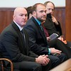 BEN GARVER — THE BERKSHIRE EAGLE<br /> Former Pittsfield Police Officer Michael McHugh and Jason LaBelle sit in Berkshire Superior Court before sentencing on charges from an incident that occurred on July 4, 2016, Friday, December 20, 2019.