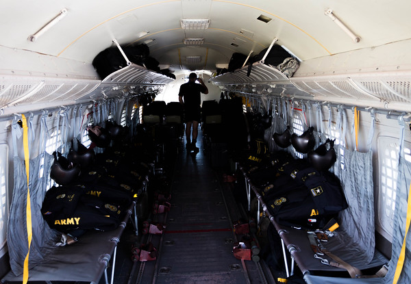 The interior of the Golden Knights jump plane is ready to go for Saturday's air show. Photo by Trevor Cokley.