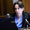 Alison Ruttenberg, one of Molly Midyette's attorneys, interviews Lenore Walker who is testifying over Skype during  Midyette's hearing at the Boulder County Justice Center on Friday 28, 2011.<br /> Photo by Paul Aiken