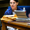 Molly Bowers formerly Molly Midyette watches as attorney's from the prosecutors office object to testimony of Lenore Walker during the case at the Boulder County Justice Center on Friday 28, 2011.<br /> Photo by Paul Aiken