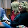 Kay Midyette listens to Lenore Walker's testimony about the portion of her interview with Molly Bowers formerly Molly Midyette when they talked about a photoshopped photo of Jason Midyette. Kay Midyette was accused by Molly  of altering the photo to hide a bruise on Jason's face. <br /> Photo by Paul Aiken