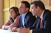 Montgomery County Commissioners, from left, Leslie Richards, Chairman Josh Shapiro, and Bruce Castor Jr. listen to a question from a member of the PennSuburban Chamber of Commerce.   Wednesday, June 18, 2014.   Photo by Geoff Patton
