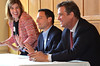 Montgomery County Commissioners, from left, Leslie Richards, Chairman Josh Shapiro, and Bruce Castor Jr. respond to a question from a member of the PennSuburban Chamber of Commerce.   Wednesday, June 18, 2014.   Photo by Geoff Patton