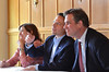 Montgomery County Commissioners, from left, Leslie Richards, Chairman Josh Shapiro, and Bruce Castor Jr. take a question from a member of the PennSuburban Chamber of Commerce.   Wednesday, June 18, 2014.   Photo by Geoff Patton