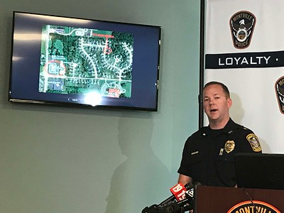 ALYSSA ALFANO / GAZETTE Montville Police Chief Terry Grice describes with a map how far a 17-year-old girl ran to get help from employees at a nearby McDonald's Shawn Guillereault, her mother's boyfriend of seven years, reportedly attempted to sexually assault her and admitted to shooting her mom, Rachel Azbell, on a 911 call.