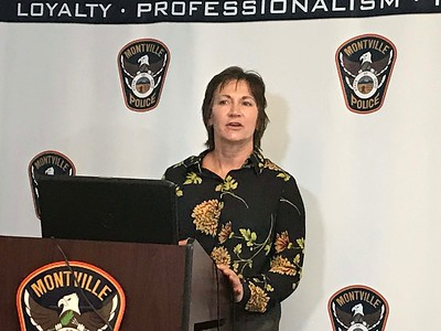 ALYSSA ALFANO / GAZETTE Medina County Coroner Dr. Lisa Deranek discusses the injuries that Rachel Azbell received during an incident Sunday at the Stockbridge Drive home she shared with her boyfriend. Shawn Guillereault admitted to shooting his girlfriend, Rachel Azbell, on a 911 call.
