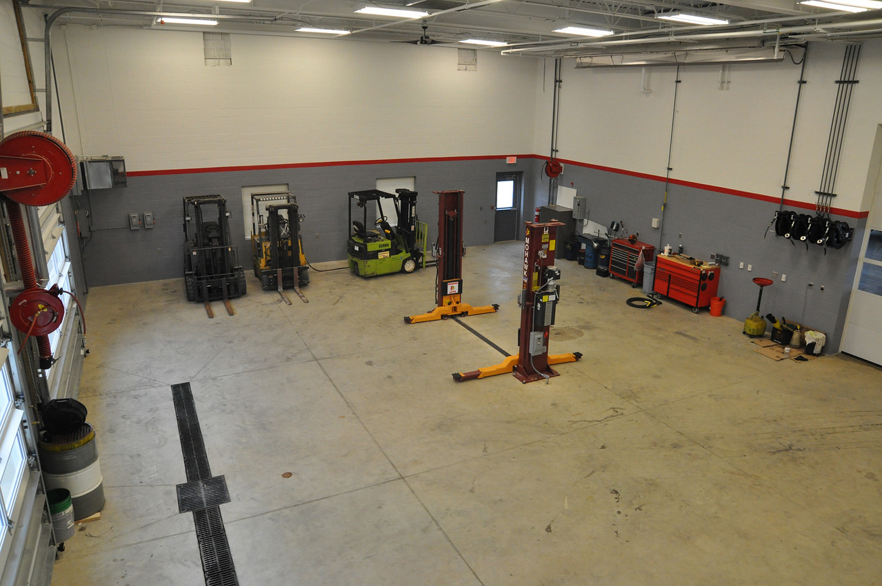 """ASHLEY FOX / GAZETTE The Montville service department includes a garage that police vehicles, road trucks and other equipment can be maintained. The township doesn't send their equipment out to be serviced unless it is  necessary. """"Most of that is done right here,"""" said Service Director Chris Kosman."""