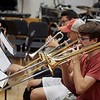 BEN GARVER _ THE BERKSHIRE EAGLE<br /> Kevin Costello, 18, Walter Boyko, 16, and Richard Stanmeyer, 17 rehearse with the Monument Mountain Jazz Ensemble for an upcoming performance with the Glenn Miller Orchestra.