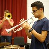 BEN GARVER _ THE BERKSHIRE EAGLE<br />  Richard Stanmeyer, 17 rehearses with the Monument Mountain Jazz Ensemble for an upcoming performance with the Glenn Miller Orchestra.