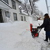 KRISTOPHER RADDER - BRATTLEBORO REFORMER<br /> Donna Spiller, of Wilmington, uses a snowblower to cut a path into the roughly 32 inches of snow in Wilmington on Thursday, March 8, 2018.
