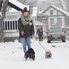 KRISTOPHER RADDER - BRATTLEBORO REFORMER<br /> Alejandra Mena, of Wilmington, walks her two dogs, Lucy and Lady,  as a Nor'Easter hits the area with snow again on Wednesday, March 7, 2018.