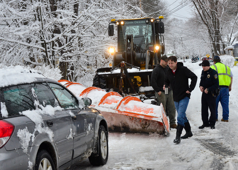 KRISTOPHER RADDER - BRATTLEBORO REFORMER<br /> The Brattleboro Police Department investigates an incident where a vehicle and a town of Brattleboro snow plow collided on Thursday, March 8, 2018.