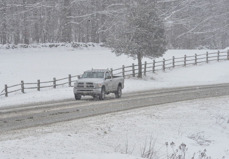 KRISTOPHER RADDER - BRATTLEBORO REFORMER<br /> Drivers brave the snow as they make their way over Route 9, in Marlboro, Vt., as a Nor'Easter hits the area with snow again on Wednesday, March 7, 2018.