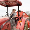 BEN GARVER — THE BERKSHIRE EAGLE<br /> Gib Crane prepares to drive as guests gather on a wagon for a ride to Mother's Day brunch at Holiday Brook Farm complete with music.
