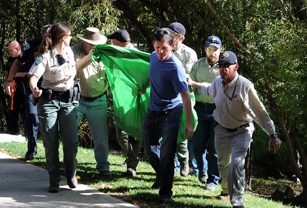 """A mountain lion was tranquilized in a tree next to this pond at the Kittredge dorms on the University of Colorado campus Wednesday afternoon. He is loaded in a green tarp and put in the back of a trailer for removal. For a video and more photos of the mountain lion, go to  <a href=""""http://www.dailycamera.com"""">http://www.dailycamera.com</a>.<br /> Cliff Grassmick / October 5, 2011"""