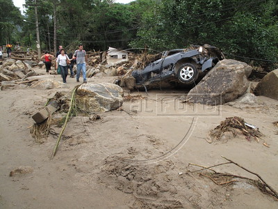 Mudslide tragedy in Teresopolis, about 1.5 hours from Rio de Janeiro. Over 500 people were killed in the mudslide in the mountainous region, when a massive wall of water descended narrow valleys, carrying away anything in it's path. (Australfoto/Douglas Engle)