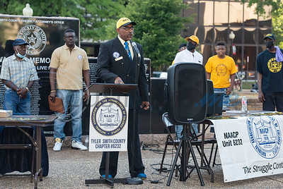Joe Turner, NAACP Branch #6232 Tyler Criminal Justice Chair, speaks at a press conference held by the local chapter to discuss their position on racial issues on the downtown square in Tyler on Wednesday, June 3, 2020.