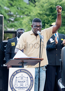 Cedrick Cranberry, NAACP Branch #6232 Tyler President, speaks at a press conference held by the local chapter to discuss their position on racial issues on the downtown square in Tyler on Wednesday, June 3, 2020.