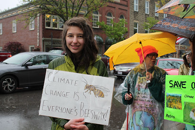LAWRENCE PANTAGES / GAZETTE Dagny Sacksteder of Hinckley Township, a junior at Highland High School, joins a group of about 50 protesters who gathered Saturday on Public Square in Medina to raise awareness of environmental concerns.