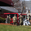 Palm Center nursing home in Chelmsford, where the National Guard was deployed to conduct coronavirus COVID-19 testing after numerous residents tested positive. National Guard members were getting out of their protective suits and cleaning up. (SUN/Julia Malakie)