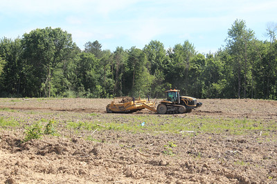HALEE HEIRONIMUS / GAZETTE Efforts to clear the 32-acre lot, 2255 Medina Rd., Medina, are still in progress where the National Carpet Mill Outlet will have its 150,000-sqaure foot store.