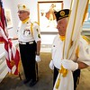 BEN GARVER — THE BERKSHIRE EAGLE<br /> Kevin Hamel and Ronal James of American Legion Post 152 of Williamstown hold the colors before the Naturalization Ceremony at the Norman Rockwell Museum in Stockbridge, Mass., Friday June 14, 2019.