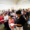 BEN GARVER — THE BERKSHIRE EAGLE<br /> People from around the world take their oath of citizenship from Judge Joan McMenemy during the Naturalization Ceremony at the Norman Rockwell Museum in Stockbridge, Mass., Friday June 14, 2019.