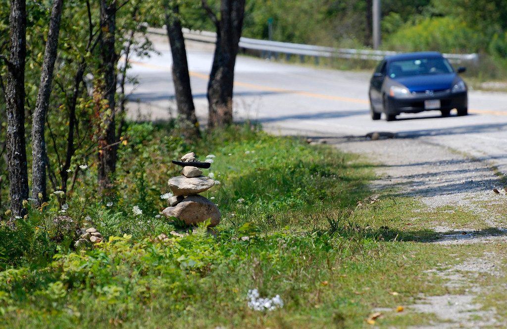 . Kayla Rice/Reformer                                 A cairn on Route 30 in Jamaica.