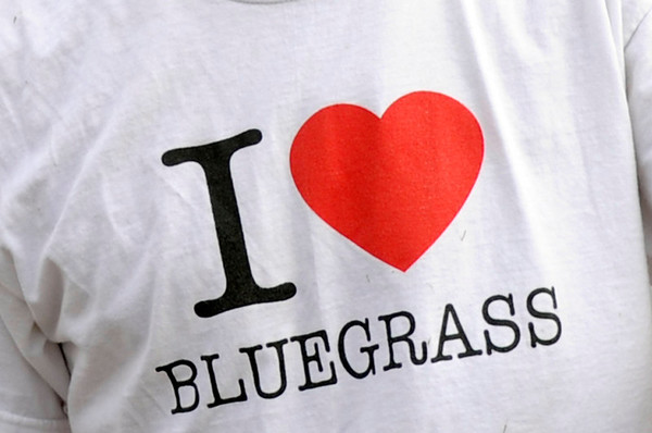 """A shirt worn by Chad VanHaveren, of Lakewood, shows his love for bluegrass music during the NedFest music festival on Saturday, Aug. 27, in Nederland. For more photos and video of the event go to  <a href=""""http://www.dailycamera.com"""">http://www.dailycamera.com</a><br /> Jeremy Papasso/ Camera"""