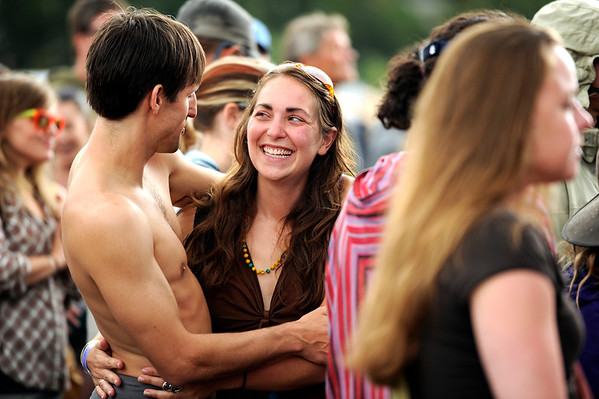 "Lisa Hartmayer shares a laugh with her boyfriend Lucas French, both of San Francisco, during the NedFest music festival on Saturday, Aug. 27, in Nederland. For more photos and video of the event go to  <a href=""http://www.dailycamera.com"">http://www.dailycamera.com</a><br /> Jeremy Papasso/ Camera"