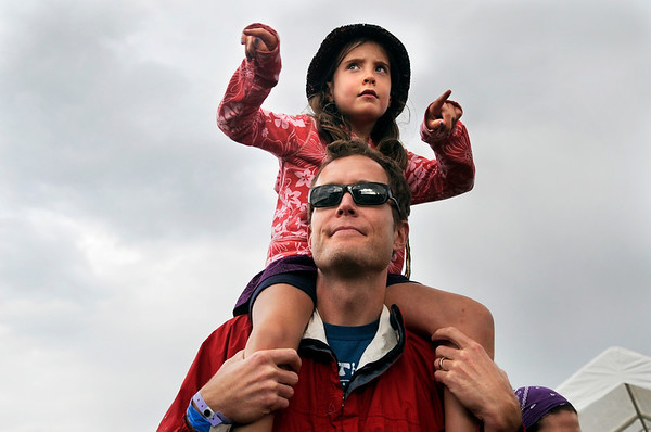 """Matt Sanders, of Boulder, holds his daughter Allison on his shoulders during the NedFest music festival on Saturday, Aug. 27, in Nederland. For more photos and video of the event go to  <a href=""""http://www.dailycamera.com"""">http://www.dailycamera.com</a><br /> Jeremy Papasso/ Camera"""