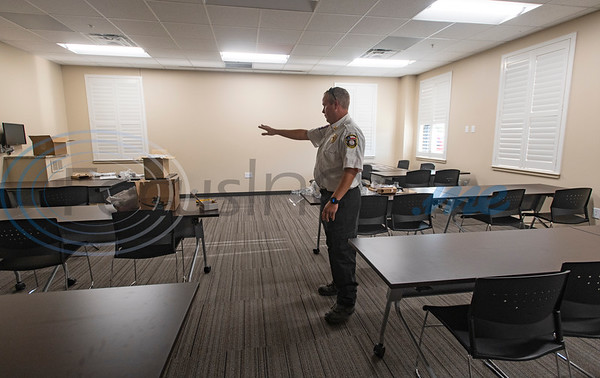 J.D. Smith, Assistant Chief for ESD 2, shows off the training room inside the new Arp Fire Station No. 1 on Tuesday, Oct. 6, 2020. The new station is serviced by fire crews from Smith County Emergency Services District 2 and Arp Volunteer Fire Department. Beginning on October 4, 2020, the station began housing 24-hour staff. The new facility replaces the former facility built in 1979. New amenities include overnight accommodations, showers, a day room and kitchen, a gym, increased storage and a large training room.