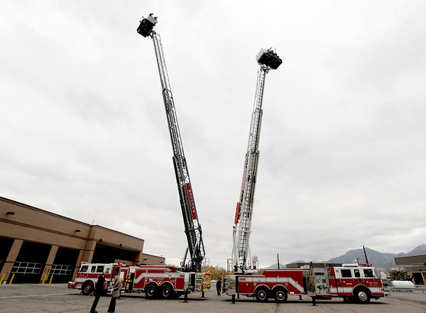 """The new fire truck is on the left and the 11-year-old one on the right.<br /> The City of Boulder has a new state of the art fire truck and will sell one of the old ones after the transfer of equipment.<br /> For a video and more photos, go to  <a href=""""http://www.dailycamera.com"""">http://www.dailycamera.com</a>.<br /> Cliff Grassmick  / October 24, 2012"""