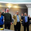 COUNCIL<br /> Left to right, Suzanne Jones, Tim Plass, George Karakehian, Ken Wilson and Lisa Morzel take their oath during the swearing-in ceremony of the new Boulder city council on Tuesday.<br /> <br /> <br /> PHOTO BY MARTY CAIVANO<br /> Nov. 15, 2011