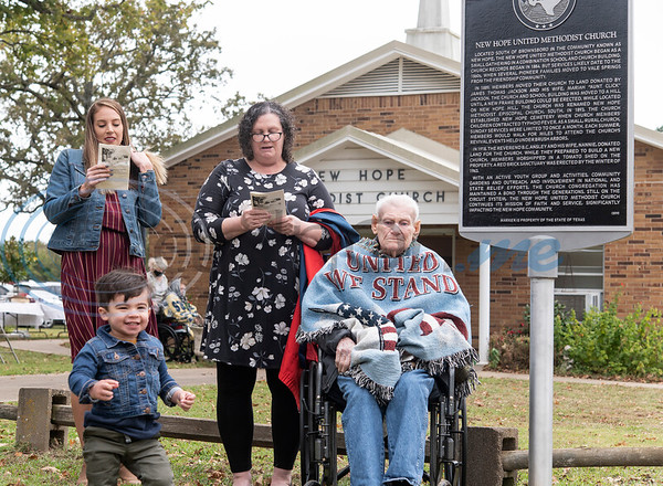 Four generations of the Jackson family were present at the reading of the new historical marker at New Hope United Methodist Church, outside of Brownsboro, on Saturday, Oct. 17, 2020. Pictured from left: Kelly Bustos, Benjamin Bustos, 1, Jo Ann Peters and Chester Jackson.