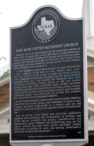 A dedication ceremony is held for a new historical marker at New Hope United Methodist Church, outside of Brownsboro, on Saturday, Oct. 17, 2020. The marker tells the history of the New Hope community, centering around the combination church and school that was built when people moved into the area in the late 1800s.