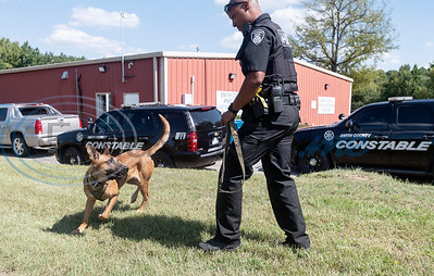 Smith County Constable Pct. 5 deputy Alvin Gordon plays with Blaze outside of his office in Lindale on Thursday, Aug. 20, 2020. In October after training, Gordon and Flash will become official K-9 officers.