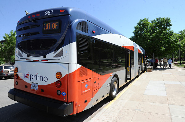 "The  new rapid transit bus  made by North American Bus Industries (NABI) was on display in Boulder on Wednesday.<br />  For a video of the bus, go to  <a href=""http://www.dailycamera.com"">http://www.dailycamera.com</a>.<br /> Cliff Grassmick / June 6, 2012"