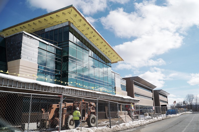 BEN GARVER — THE BERKSHIRE EAGLE<br /> The new Taconic High School building will open to students in the fall. The $120.8 million project will be 246,520-square-feet and have a fortified entrance and video cameras throughout the school.