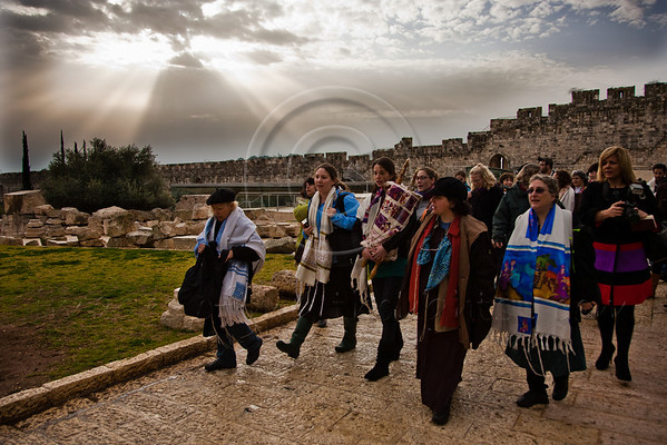 Morning prayers were conducted today on the women's side of the Kotel by Women of the Wall, in defiance of rulings forbidding them to pray in the manner of orthodox Jewish men. Jerusalem, Israel. 04/02/2011.